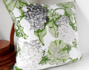 "Pillows White and Gray Geranium, Green Leaves on White,  Modern, Pillow Cover, 20"" x 20"""