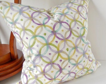 "Pillows Light Purple,Green, Lime Green and Beige, Abstract Circles,  Modern, Pillow Cover, 20"" x 20"", Ready to ship."