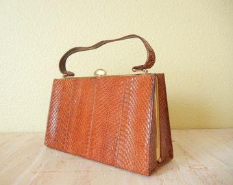 SALE! Vintage 1950's Snake Leather  Handbag   Leather Clutch