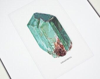 Amazonite Mineral Specimen Archival Print on Watercolor Paper