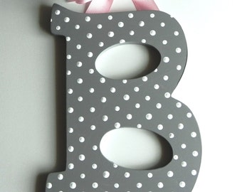 Grey and White Polka Dot Hand Painted Letter