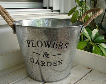 shabby chic, tin bucket, embossed Flowers & garden, metal planter, pail with rope handles.