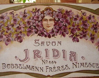 vintage French soap savon Iridia, purple flower, lady cameo advertising label on wood
