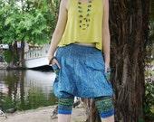 Special Thai  Pants, Short Pants, Cotton, Batik, Navy Bllue w Green/Gold Royal Design - baggy pants - comfy pants - yoga - women pants -