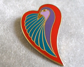 Vintage Laurel Burch Brooch, Dove Heart Shaped, Enamel 1980's