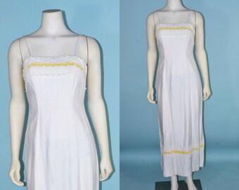 Vintage 60s White Mod Party Prom Dress, Spaghetti Strap Maxi Dress + Yellow Velvet Trim, Summer Party Dress Junior Sizing XS
