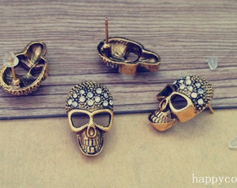 6pcs 14mmx23mm antique gold skull ear hammer accessories