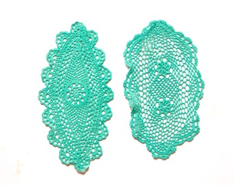 2 Mint Green crochet  Doilies hand dyed Vintage doilies