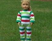 Christmas Striped Baby Doll Christmas Pajamas Match Your Baby Toddlers Pajamas with Her Baby Doll  18 Inch Doll - American Doll Pajamas