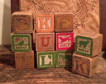 Antique Children's Alphabet/Picture Blocks