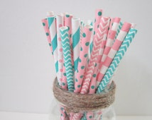 Aqua Light Pink Paper Party Drinking Straw ~ Flamingo ~ South Beach ~ Wedding ~ Set of 24 or 48