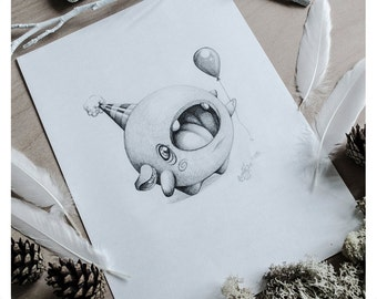 PRINT Fine ART Drawing Illustration Pencil Drawing Graphite Nursery Home DECORATION Postcard Kawaii - A Celebration