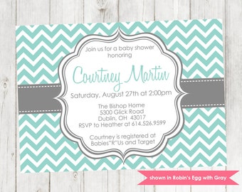 Baby Boy Shower Invitation - Printable Chevron Baby Shower Invitation - Colors Customizable