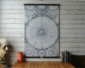 Vintage Celestial Map Pull Down Chart with Canvas Print and Oak Wood and Brass Hanger