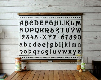 Vintage Alphabet Pull Down Chart Reproduction with Canvas Print and Oak Wood and Brass Hanger / Alphabet & Numbers