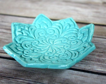 Turquoise Ring Dish - Boho Star Trinket Holder - Handmade Jewelry Bowl - Bohemian Style - Modern Boho Decor - Engagement Gift - Shower Favor