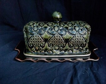Butter dish- lace imprint