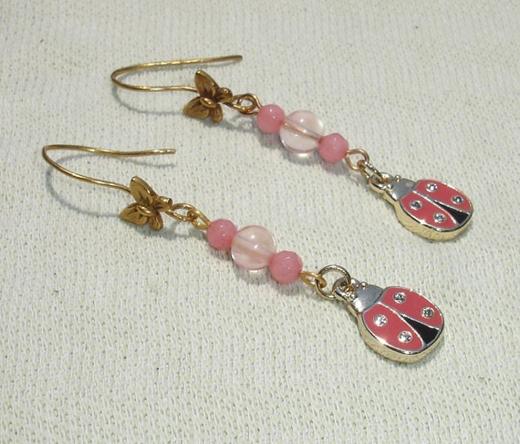 Spring Time Butterfly & Lady Bug Gemstone Dangle Earrings - Handmade Jewelry