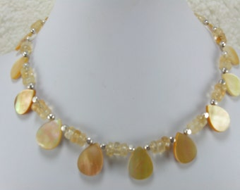 Yellow Pearl Necklace, Yellow Necklace, Citrine Gemstones, Gemstone Necklace, Pearl Necklace, Bridal Wedding Necklace, FRU Heart Attack