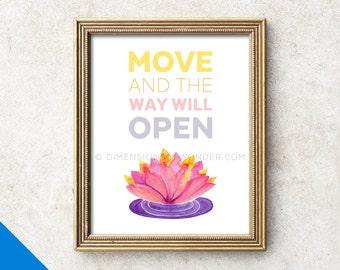 Meditation art, lotus flower art print, meditation room, typography, meditation room, zen decor, zen art, mindfulness, yoga studio decor.