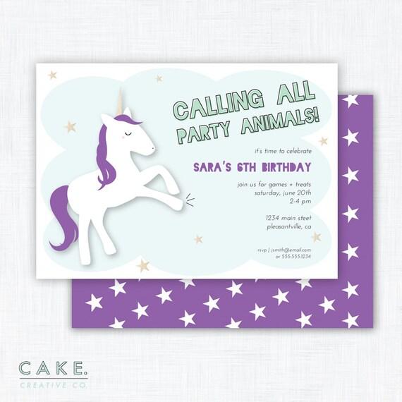 Unicorn Party Invitation Printable