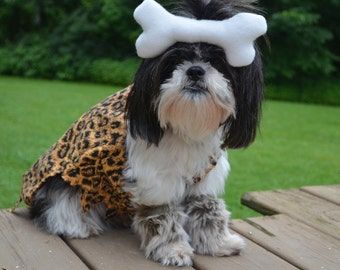 Adorable Cavegirl Halloween Dog Costume with bone and fur boot looking cuffs for small/medium breed dogs