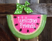 WELCOME FRIENDS WATERMELON Sign summer country wood crafts Decoration porch door mesh wreath accent pink