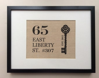 New Home Gift - Personalized Housewarming Gift - Home Address Burlap Wall Art - Custom First Home Gift - Realtor's House Closing Gift