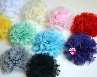 Sets of 2, 5, and 10 - Debra Collection - Frayed Petti Puff Flowers - U Pick Colors - Chiffon - diy Flower Headband