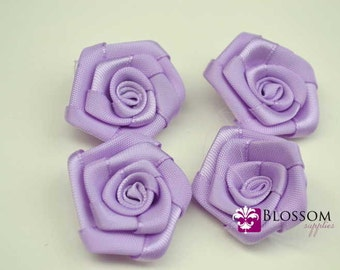 "Set of 4 - LAVENDER - The Lindsay Collection - Mini 1"" - 1.5"" Satin Rolled Ribbon Flowers - DIY Flower Headbands - Petite Satin"