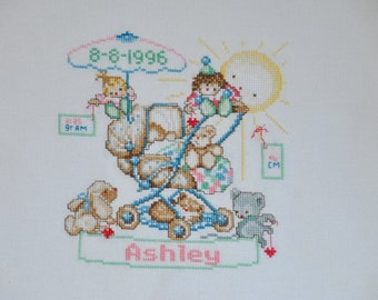 Finished / Completed Cross Stitch - Birth Sampler - Baby in a Stroller crossstitch counted cross stitch