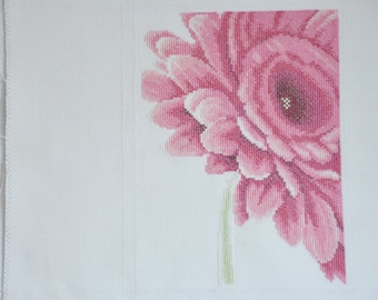 Finished / Completed Cross Stitch - Lanarte  - Close-Up Pink Flower crossstitch counted cross stitch (35053)
