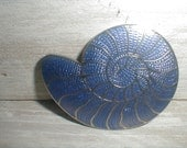 Shell Shaped Belt Buckle *Lavender & Outlined In Silver* Marked CL
