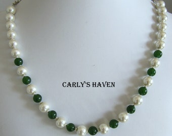 Green Jade, white glass pearl, and silver necklace, ready to ship, handmade, gifts for women, gifts for mom, gifts under 50