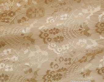1 yard champagne color eyelashes paragraph clothing lace fabric, Embroidery,Wedding,Polyester Mesh,Cotton stretch fabric (W116)