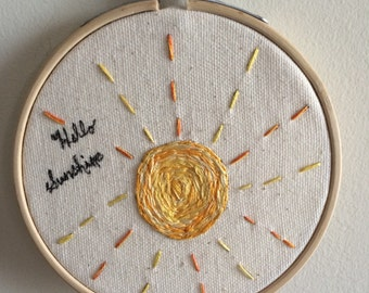 Hello Sunshine Mini Hoop Art