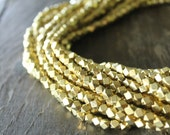 Indore Bright Gold Medium Cornerless Cube Beads - 5mm Spacers - Sparkly Faceted Beads - Half Strand or Whole Strands Available