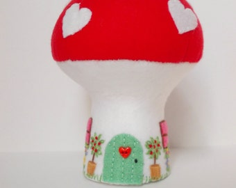 Mushroom house, Love Cottage, pincushion, collectible, toadstool house, fairy house