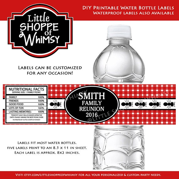 Diy Water Bottle Labels Picnic Family Reunion Ants Summer