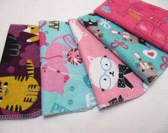 Cloth Napkins, 5 Girls Cat Napkins, Kids Cloth Napkins, Back to School Napkins, Casual Everyday Cloth Napkins
