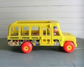 Vintage Fisher Price School Bus Toy, 1960s Fisher Price Toys, Fisher Price Little People Toy, Vinatge Fisher Price Little People Shool Bus