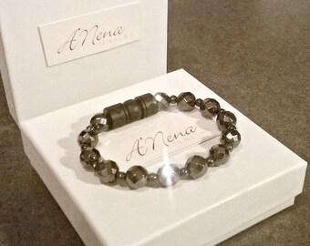"Unisex  Bracelet, Faceted Hematite Semi-Precious Gemstone & Carved Wood  ""I Am Balanced"""