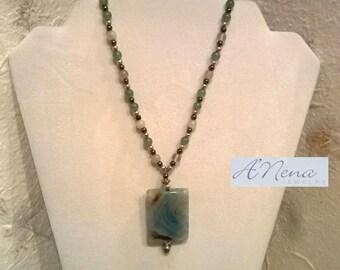 "Unisex Necklace- Genuine  Fire Agate, Hematite, Aventurine,  Fluorite & 925 Sterling Silver "" Waliq""  (Abundance in Quechua)"
