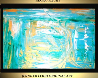 Original Large Abstract Painting Modern Acrylic Oil Painting Canvas Art Blue Gold White Swan Bird 36x24 Palette Knife Textured  J.LEIGH