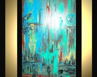 """Original Large Abstract Painting Modern Acrylic Oil Painting Canvas Art Blue Green Rust Black Yellow 36""""x24"""" Textured Wall Art  J.LEIGH"""