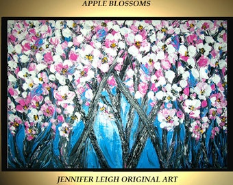 "Sale - Original Large Abstract Painting Modern Acrylic Oil Painting Canvas Art Blue White Pink Blossom Trees  36x24""  Textured  J.LEIGH"