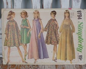 Vintage Simplicity sewing pattern 6794 1966 60's miss size 14  dress in two lengths  flared dress roll type collar maternity dress