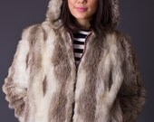 SALE 50% OFF 70s Vintage Faux Fur Bomber Jacket with Hood