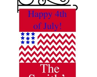 Personalized Chevron 4th of July Garden Flag
