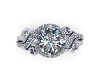 Moissanite  engagement ring  with diamonds, in 14k white gold, style 160WDM